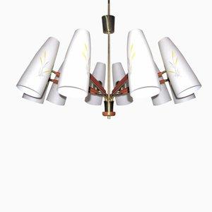 Große Österreichische Deckenlampe mit 10 Leuchten von Rupert Nikoll