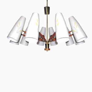 Lámpara de techo austriaca grande con 10 brazos de Rupert Nikoll