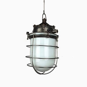 Vintage Opaline Glass & Steel Cage Industrial Light