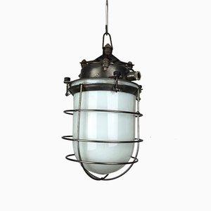 Vintage Opaline Glass & Steel Cage Industrial Light