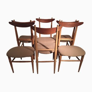 Vintage Teak and Oak Dining Chairs, Set of 6