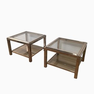 Mesas de centro vintage de metal cromado. Juego de 2