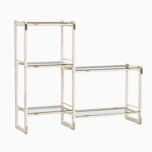Vintage Italian Wood, Brass & Glass Bookshelf