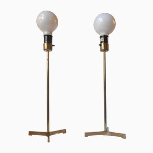 Scandinavian Modern Brass Tri-Stand Table Lamps with Jumbo Bulbs, 1960s, Set of 2