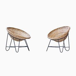 Chaises Vintage en Rotin, Set de 2