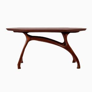 Tavolino in mogano con gambe dal design organico, anni '70