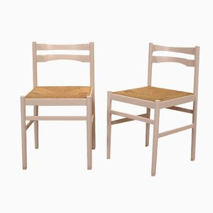 German Beech & Wicker Dining Chairs, 1970s, Set of 2