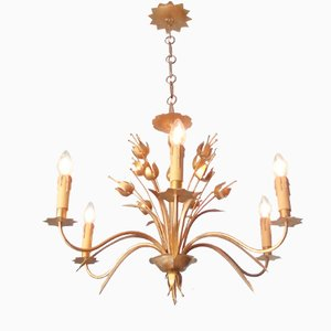 French Suspension Lamp with Plant Motifs, 1950s