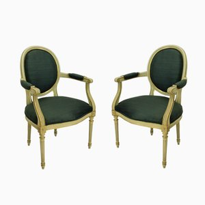 Bemalte & Vergoldete Französische Armlehnstühle, 1950er, 2er Set