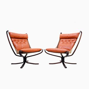 Norwegian Falcon Cognac Leather Lounge Chairs by Sigurd Ressell for Vatne Møbler, 1970s, Set of 2