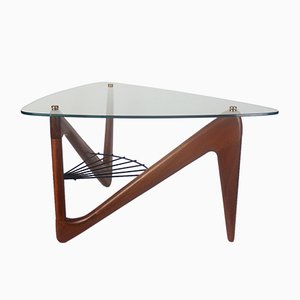French Glass, Metal, and Mahogany Coffee Table by Louis Sognot, 1950s