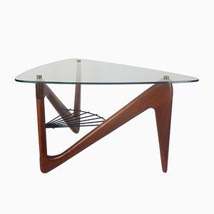 Tavolino da caffè in vetro, metallo e mogano di Louis Sognot, Francia, anni '50