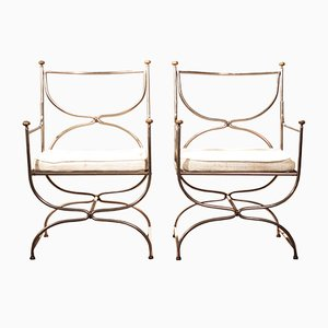 Steel Armchairs from Maison Jansen, Set of 2