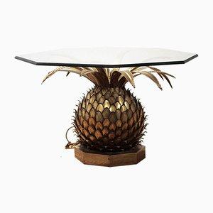 Ananas Tisch aus Messing & Glas von Maison Jansen