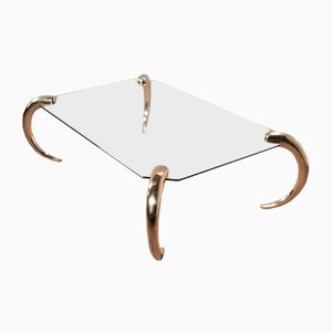 Glass & Brass Coffee Table from Maison Jansen, 1970s