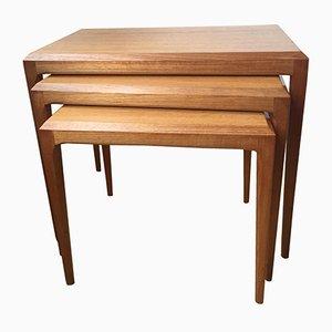 Tavolini a incastro in teak di Johannes Andersen per CFC Silkeborg