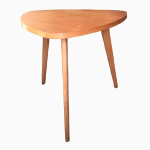 Tavolino da caffè tripode in legno, anni '50
