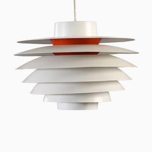 Lampe à Suspension Verona Blanche et Rouge par Svend Middelboe pour Nordisk Solar, 1960s
