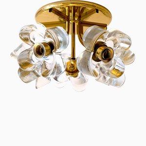 Lámpara Mid-Century de latón con flores de cristal de hielo de J.T. Kalmar para Mazzega