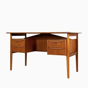Mid-Century Danish Teak Desk with Drawers by Gunnar Nielsen Tibergaard