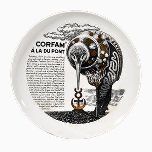 Piatto vintage con ricetta/leggenda di Piero Fornasetti per Fleming Joffe, Italia, anni '60