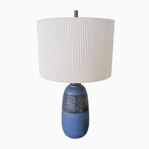 Petite Blue Ceramic Lamp by Nancy Wickham Boyd, 1950s