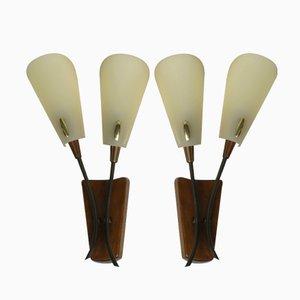 Lámparas de pared de madera y latón, años 50. Juego de 2