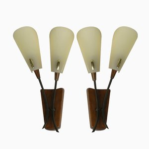 Wandlampen aus Holz & Messing, 1950er, 2er Set