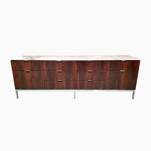 Brazilian Rosewood Credenza with a Carrara Marble Top by Florence Knoll