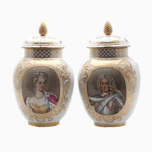 Große König & Königin Vintage Vasen mit Deckel, 2er Set