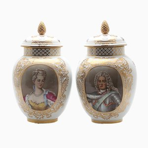 Large Vintage King & Queen Vases with Lid, Set of 2