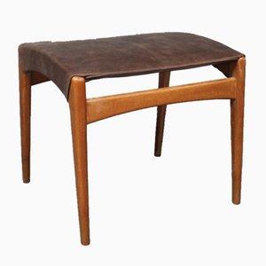 Taburete danés de madera y cuero, años 60
