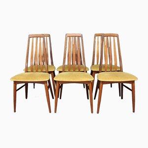 Eva Teakholz Esszimmerstühle von Niels Koefoed, 1960er, 6er Set