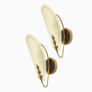 Mid-Century Italian Glass & Brass Wall Sconces, Set of 2