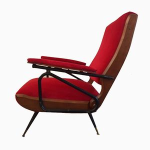 Red Velvet Mid-Century Armchairs, Set of 2