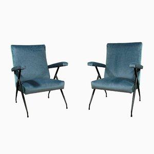 Mid-Century Blue Velvet Armchairs, Set of 2
