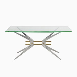 Italian Aluminum & Glass Coffee Table, 1960s