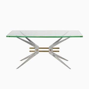 Table Basse en Aluminium et en Verre, Italie, 1960s