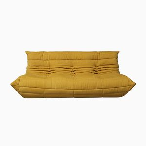 Vintage TOGO 3-Seater Sofa in Yellow Fabric by Michel Ducaroy for Ligne Roset