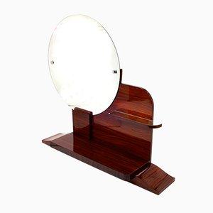 Runder Art Deco Spiegel mit Ablage