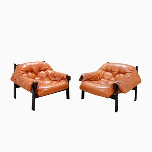 Brazilian Leather Lounge Chair by Percival Lafer