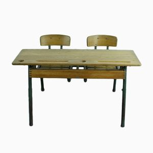 Vintage French Children's Double Desk and Chairs Set
