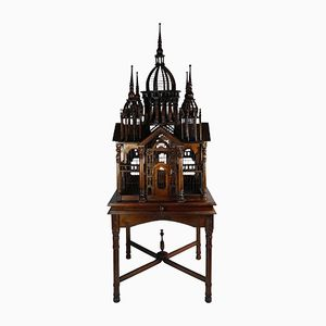 Vintage Italian Architectural Mahogany Bird Cage on Stand