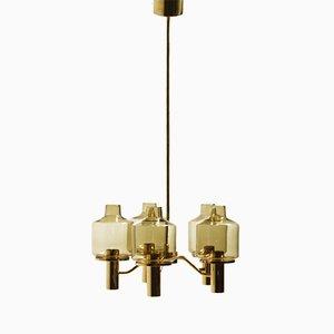 Lámpara de araña de vidrio ahumado y travertino de Hans-Agne Jakobsson para Markaryd, años 60