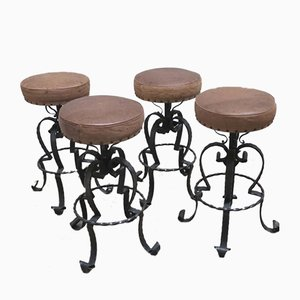Vintage German Wrought Iron & Leather Bar Stools, 1970s, Set of 4