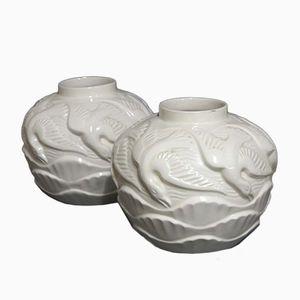 Französische Art Deco Keramikvasen, 1930er, 2er Set