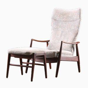Poltrona reclinabile e poggiapiedi vintage in teak di Alf Svensson per Fritz Hansen