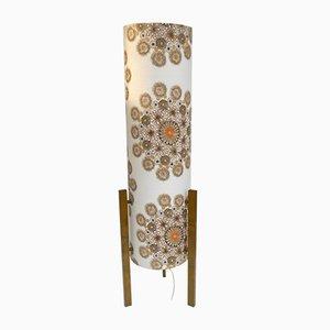 Lámpara de pie italiana de cartón y tela de flores de Bruno Munari, años 60