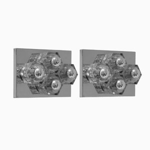 French Chromed Steel and Glass Sconces, Set of 2