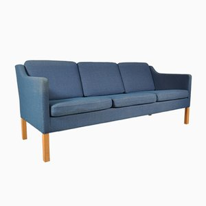 Danish Three-Seater Sofa with Blue Fabric by Børge Mogensen for Fredericia